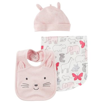 Carter's Baby Girls' 3-Piece Bib and Hat Set