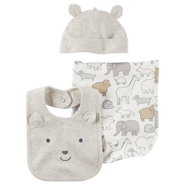 Carter's Newborn 3-Piece Bib and Hat Set