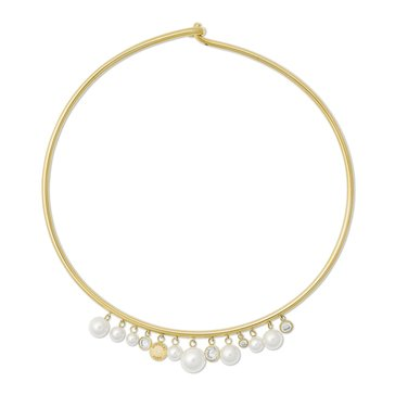 Michael Kors Gold-Tone Pearl Collar Necklace