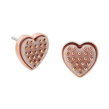 Michael Kors Rose Gold-Tone Heart Acetate Stud Earrings