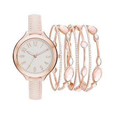 Jessica Carlyle Women's Stackable Watch Set, Rose Gold/White/Blush 40mm