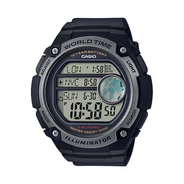 Casio Men's World Time Watch AE3000W-1AV, Black 52mm