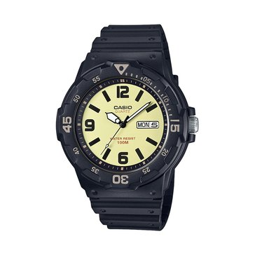 Casio Men's Diver Style Analog Watch MRW200H-5B3V, Black/ Yellow 44.6mm