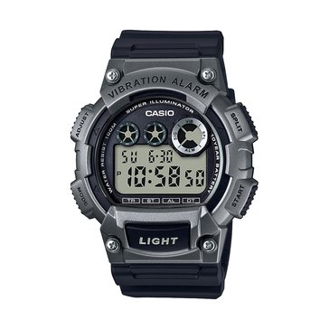 Casio Men's Vibration Alarm Digital Watch W735H-1A3V, Gun/ Black 51mm