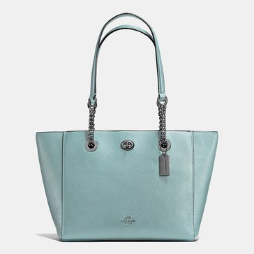 Coach Pebble Turnlock Chain Tote 27 Cloud