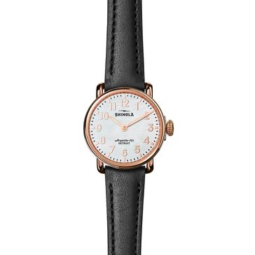 Shinola Women's Runwell Watch S0120043929, Mother of Pearl/ Black Leather 28mm