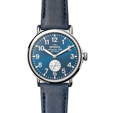 Shinola Unisex Runwell Midnight Blue/Ocean Leather Watch, 41mm
