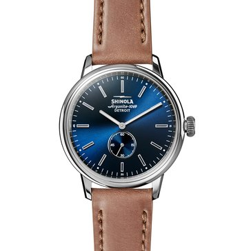 Shinola Men's Bedrock Watch S0120058979, Stainless Steel/ Natural Leather 42mm