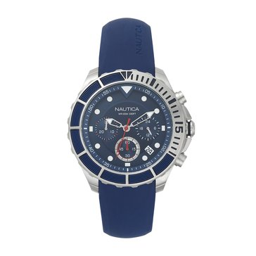 Nautica Men's Puerto Rico Chronograph Blue Silicone Watch, 46mm