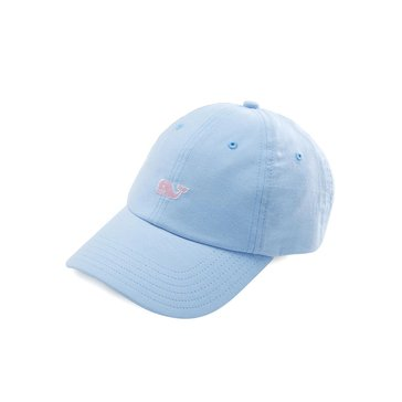 Vineyard Vines Oxford Baseball Hat in Light Blue With Pink Whale
