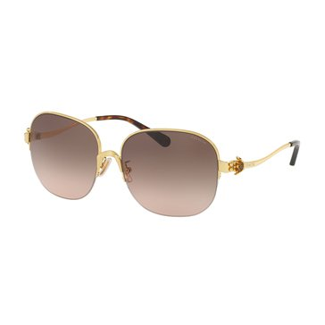 Coach Women's Square Sunglasses Gold/ Grey Pink Gradient 58mm