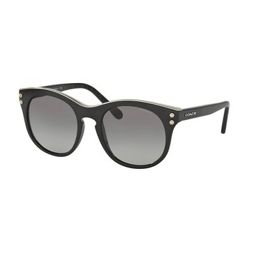 Coach Women's Rounded Sunglasses HC8190, Black Gunmetal/ Grey Gradient 51mm