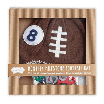 Mud Pie Baby Boys' Milestone Knit Hat, Football