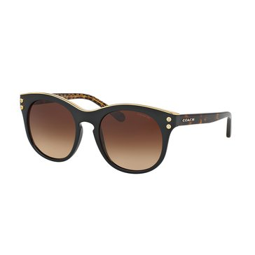 Coach Women's Rounded Sunglasses HC8190, Dark Tortoise/ Brown Gradient 51mm