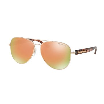 Michael Kors Women's Pandora Sunglasses MK1015, Rose Gold/Gold Flash 58mm