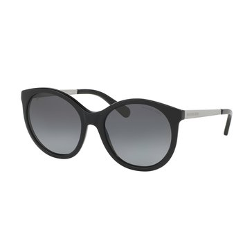 Michael Kors Women's Island Tropics Polarized Sunglasses MK2034, Black Matte Silver/Grey Gradient 55mm