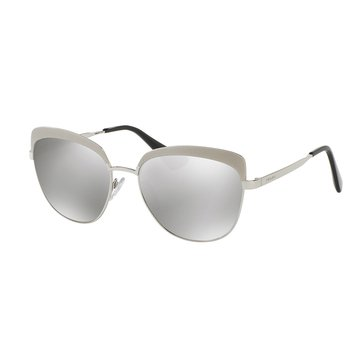 Prada Women's Sunglasses PR 51TS, Silver/ Light Grey Mirror 56mm