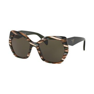 Prada Women's Sunglasses PR 16RS, Sheaves Grey/ Dark Green Sunglasses 56mm