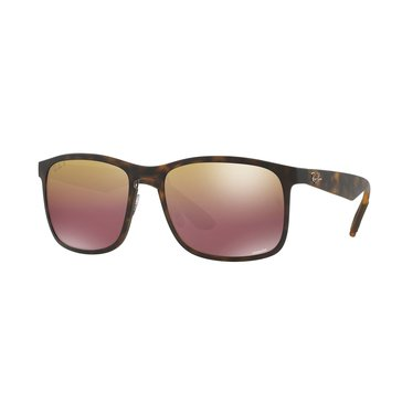 Ray-Ban Men's Chromance Polarized Sunglasses RB4264, Tortoise/ Purple Mirror 58mm