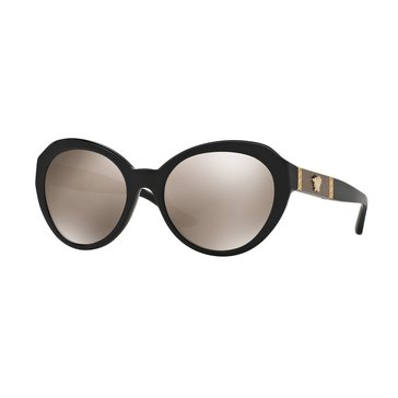 Versace Women's Sunglasses VE4306Q, Black/ Light Brown Mirror 56mm