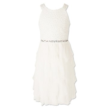 Speechless Big Girls' Social Waterfall Tulle W/Jewel Bodice Dress, Ivory