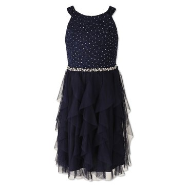 Speechless Big Girls' Social Waterfall Tulle W/Jewel Bodice Dress, Navy