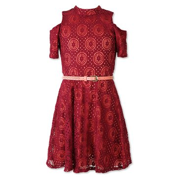 Speechless Big Girls' Cold Shoulder Lace Dress, Red