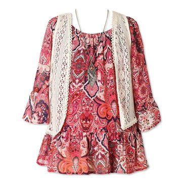 Speechless Big Girls' 2-Piece Peasant Dress & Vest Set, Coral/Navy