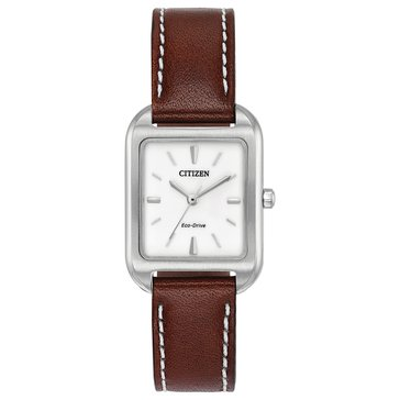 Citizen Women's Eco-Drive Silhouette Stainless Steel/Brown Leather Watch, 23mm