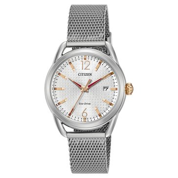 Citizen Drive Women's LTR Watch FE6081-51A, Silver/ Rose Gold/ Stainless Steel Mesh 34mm