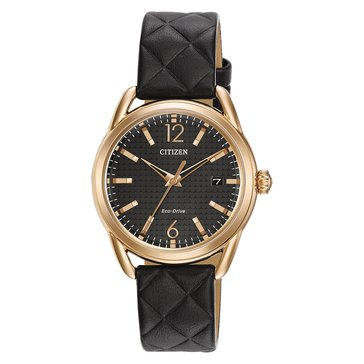 Citizen Drive Women's LTR Watch FE6083-13E, Rose Gold/ Black Leather 34mm