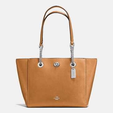 Coach Pebble Turnlock Chain Tote 27 Saddle