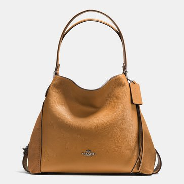Coach Mixed Leather Edie 31 Hobo Saddle