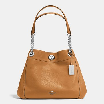 Coach Pebble Turnlock Edie Hobo Saddle