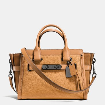 Coach Mixed Leather Swagger 27 Saddle