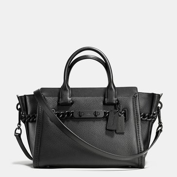 Coach ID Pebble Swagger 27 Satchel Black