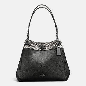 Coach Colorblock Mixed Turnlock Edie Black Chalk