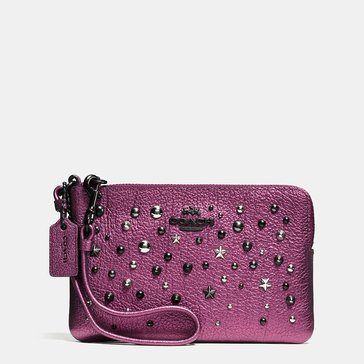 Coach Metallic Star Rivets Small Wristlet Metallic Mauve