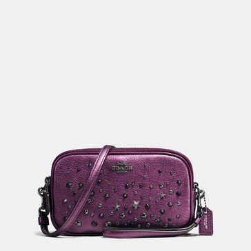 Coach Metallic Star Rivets Crossbody Clutch Metallic Mauve