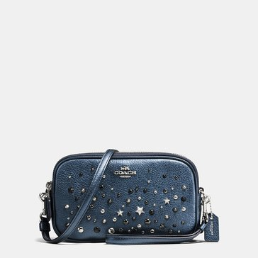 Coach Metallic Star Rivets Crossbody Clutch Metallic Blue
