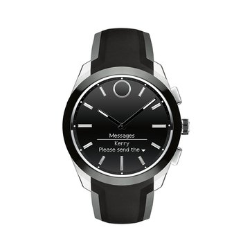 Movado Men's Bold Connected II Stainless Steel/Black Silicone Smart Watch, 44mm