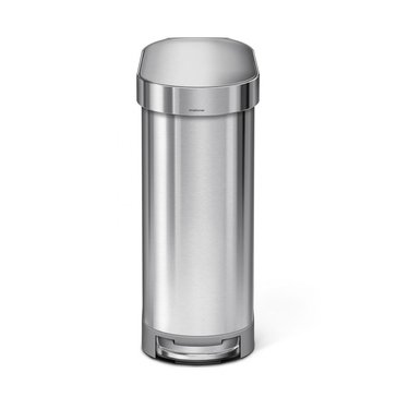 simplehuman 45 Liter Brushed Stainless Steel Slim Step Can, N Liner