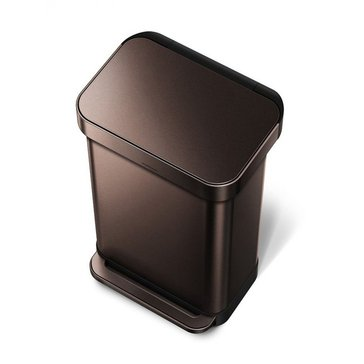 simplehuman 45 Liter Dark Bronze Steel Rectangular Step Can with Liner Pocket, M Liner
