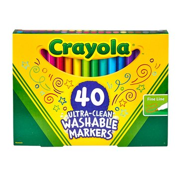 Crayola Ultra Clean Washable Fine Line Markers, 40-Count
