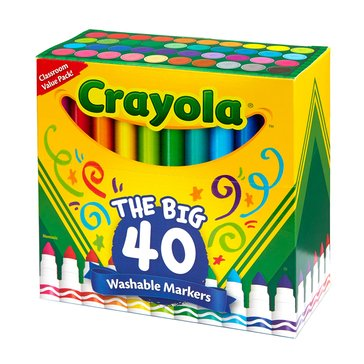 Crayola Ultra Clean Washable Broad Line Markers, 40-Count