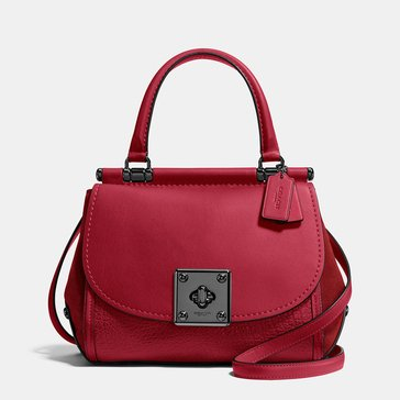 Coach Mixed Leather Drifter Top Handle Cherry
