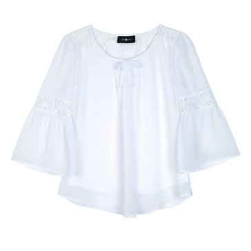Byer Big Girls' Solid Peasant Top, White