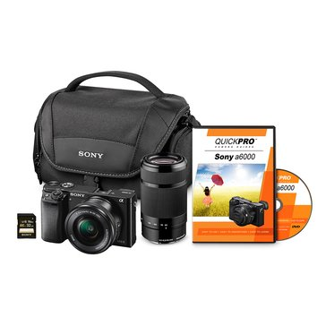 Sony A6000 2 Lens Bundle-16-50mm-55-210mm-32GB-Camera Bag-(ILC-E6000YCLB/B)