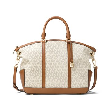 Michael Kors Beckett Large Top Zip Satchel Signature Vanilla
