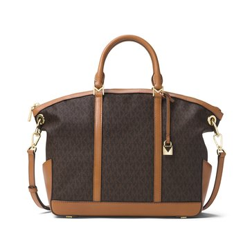 Michael Kors Beckett Large Top Zip Satchel Signature Brown